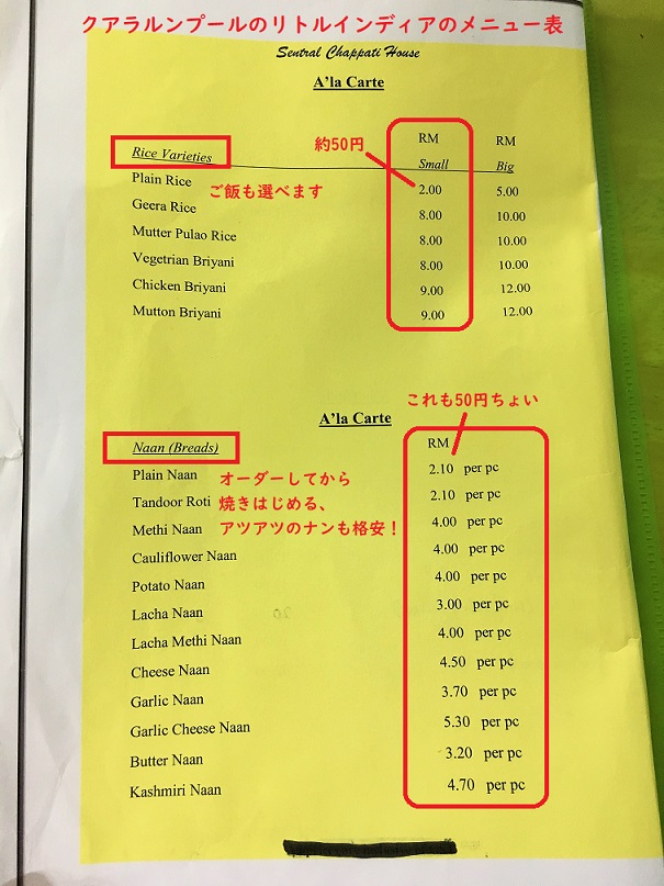 クアラルンプールのリトルインディアのカレー屋のメニュー表