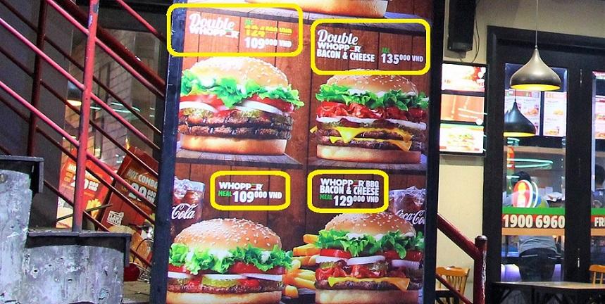 ベトナムの外食の値段はいくらだろう、バーガーキングの場合