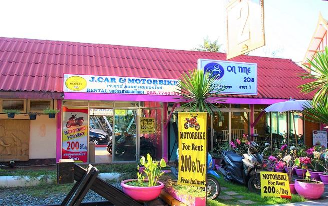 タイのチェンマイ駅のレンタルバイク屋