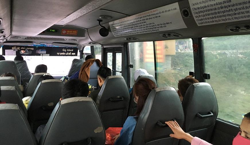 サパからラオカイへ行くバスの車内の写真