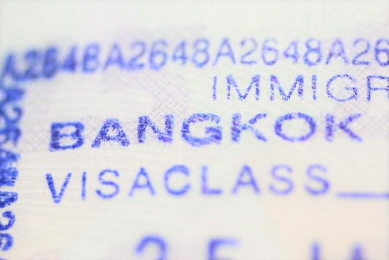 タイのバンコクの入国スタンプ