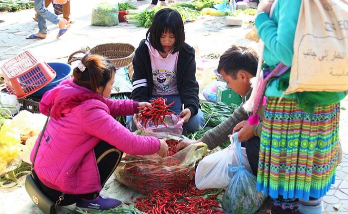 ベトナム旅行バックハー市場で働く女子高生
