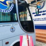 フーコック島の中心部から、フェリー会社のバスでバイボン港まで行く