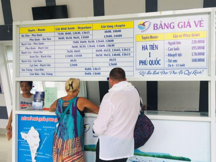 ハーティエンフェリーターミナルのスーパードン社のチケットカウンター|ベトナム旅行
