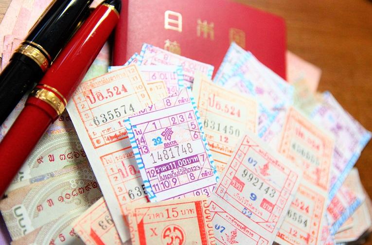 タイ旅行|格安で乗れるバンコクの路線バスのチケットの写真