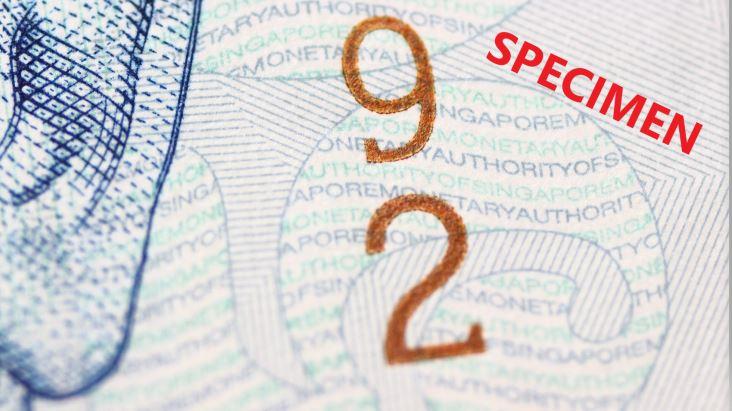 シンガポール50ドルの見本|偽造防止