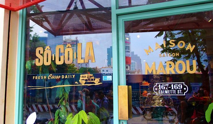 チョコレート工場兼販売所のメゾンマルゥの正面玄関|ベトナムのホーチミン