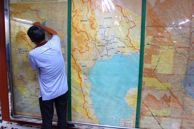 統一会堂の地下にある秘密の地図の写真|ホーチミン観光