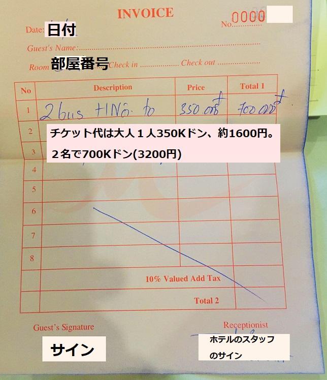 ホテルでハノイからフエに行くバスのチケットを買ったら、シンツーリストの価格より高額だったレシートの写真