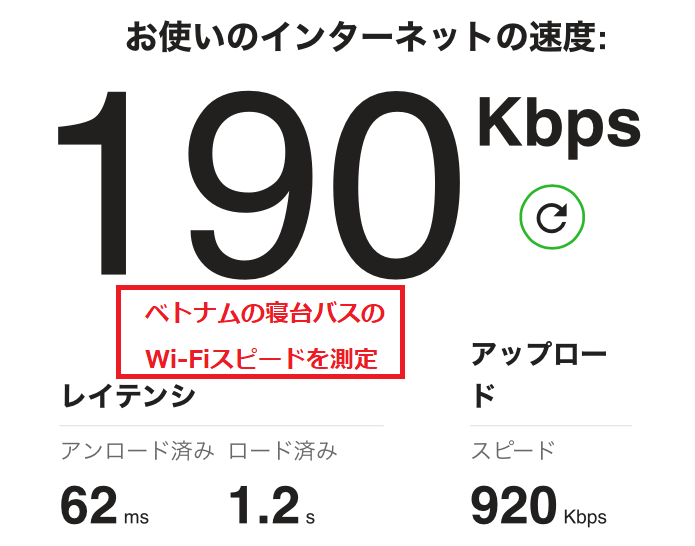 夜行バスの車内Wi-Fiにつなげて、インターネットのスピードを測定した写真。かなり遅かった。