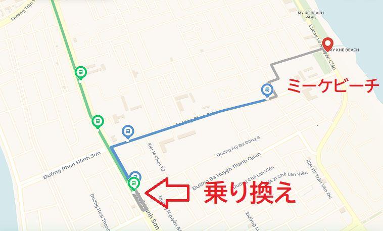 ダナンでのバスの乗り換え地点を地図上で確認している画像