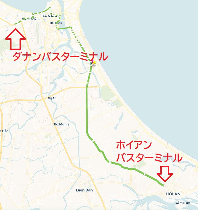 ベトナムのダナンからホイアンバスターミナルへの実際に路線バスが通るルートをバスマップで表示した画像