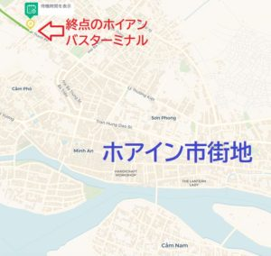 ダナンからフエ行きの終点のバスターミナルを日本語バスマップ上で表示した画像