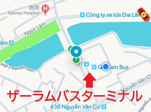 ハノイのザーラムバスターミナルまでグラブタクシーで行った地図のスクリーンショット|ベトナムバス旅行